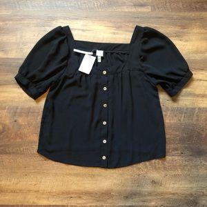 ASOS Black Blouson Sleeve Button Up Blouse, 12